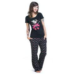 Cherry Cat Long - Pijama por Pussy Deluxe - Número Artículo: 289068 - desde 39,99 € - EMP tienda online de Camisetas, Merchandise, Rock, Heavy Metal, Gótica ...