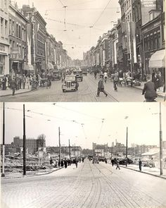 Rotterdam - Jonker Fransstraat before and after the bombing (1940 )..