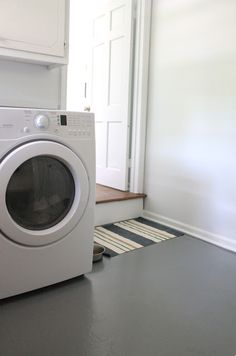 Floor paint makes an easy to clean surface for mudrooms & laundry rooms