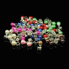 10 pcs Pearl Glass Dangle Silver Charm Beads   Your by CHICBean, $8.50