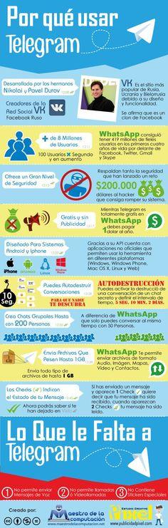 Una infografía, totalmente en castellano, que nos muestra las diferencias entre Telegram y WhatsApp, con las ventajas que supone usar el primero.