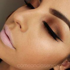 "Anastasia's Lavish Eyeshadow Palette on eyes ""sienna"" (crease) ""rum cake"" (lid) MAC ""embark"" (outer crease) MAC ""happy hibiscus"" lips."