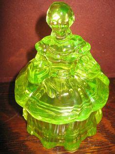 Vaseline Glass Powder Jewelry Box