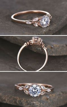 Sterling silver ring/Round cut Cubic Zirconia engagement ring/CZ wedding ring/Three flower marquise/promise ring/Xmas gift/Rose gold plated #affiliate #weddings #rings #weddingring Engagement Rings Oplysninger om vores hjemmeside http://storelatina.com/ #engagementrings #weddingflowers