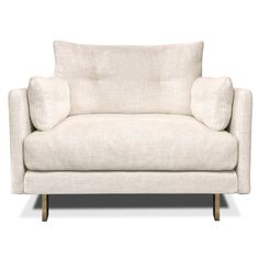 jonathan adler. Embrace your inner modernist with our updated take on mod California style. Clean, simple lines add style while side bolsters and an extra row of cushions add comfort. The extra soft pearl linen bouclé and brushed brass legs give the relaxed vibe a touch of warmth. Its laid-back style is fit for any beach house or comfy living room.