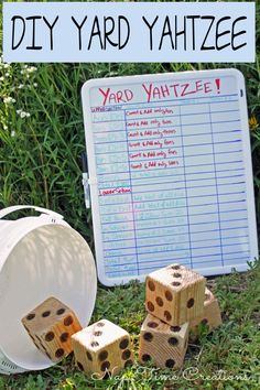 Yard Yahtzee and Summer Fun. Easy to make, fun to play! Yard Yahtzee and Summer Fun. Diy Yard Games, Diy Games, Backyard Games, Lawn Games, Backyard Ideas, Family Yard Games, Cozy Backyard, Yard Yahtzee, Yahtzee Game