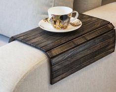 Sofa Tablett Tisch VINTAGE schwarz, TV-Fach, Holz Couchtisch, Runde Ausflüge für kleine Räume