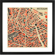 Amsterdam Map by Jazzberry Blue, 50 x 50cm Framed Print from Made.com. Multi-Coloured. Born and based in Toronto, artist Jazzberry Blue creates beau..