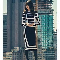 Black And White Stripe Long Sleeve Bandage Dress http://www.celebdressy.com/BANDAGE-DRESS/Black-And-White-Stripe-Long-Sleeve-Bandage-Dress