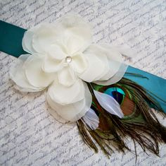 JOSIE PEACOCK Ivory on Teal - Bridal Sash with peacock and white feather sprays. $64.00, via Etsy.