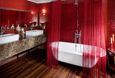 Red Wall Paint And Bathroom Curtain For Modern Design Bathrooms