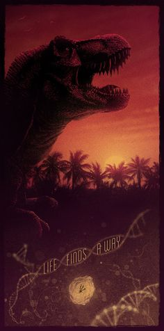 """""""Life finds a way"""" is a genius quote from Jurassic Park, which was originally conceived by the novel's writer, Michael Crichton. Jurassic Park Tattoo, T Rex Jurassic Park, Jurassic Park Poster, Jurassic Park Series, Jurassic Park World, Jurassic Movies, Michael Crichton, Digital Art Illustration, Jurrassic Park"""