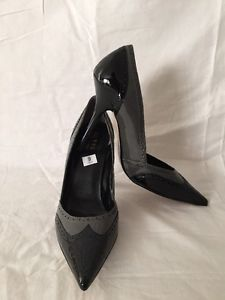 "Guess Shoes Wingtip High Heels Size 9 M Black Gray Patent Leather 4 25"" Nice 