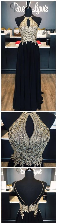 gold lace appliqued black chiffon prom dress,so cut!!long prom dress,prom dress 2017,pageant dress