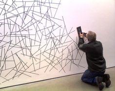Sol LeWitt wall drawing being made at Dia Beacon