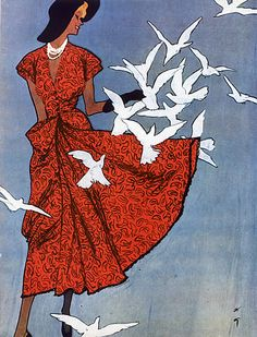 Gouache fashion illustrations Rene Gruau was commissioned by Jeanne Lafaurie in 1949 for a Parisian fashion show.