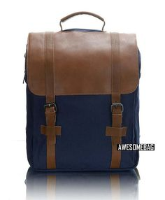 CANVAS bag BACKPACK Superior Genuine Cow Leather Briefcase / Messenger bag / Laptop bag / Men's leather Bag(M331)