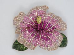 Rare-Large-Joan-Rivers-Pink-Hibiscus-Flower-Pin-Pristine