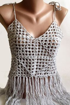 This #crochet granny square top is amazing for warm summer concerts, festivals, belly dancing and beach party. You could wear it with your favorite shorts, skirts or jeans. ... #sexy #boho