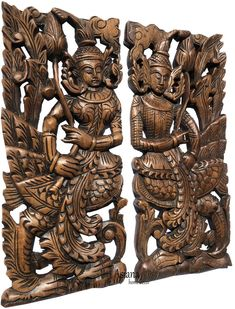 Thai Asian Figure with lotus flower carved wood wall art panel. Each, Set of 2 pcs. Carved Wood Wall Art, Wooden Wall Plaques, Wooden Wall Panels, Wood Panel Walls, Panel Wall Art, Wooden Art, Wooden Decor, Wooden Walls, Hand Carved