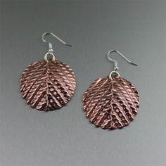 Corrugated Fold Formed Copper Disc Earrings