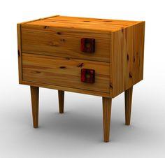Criado mudo com puxadores de madeira maciça reutilizados, duas gavetas e estrutura de madeira maciça. 02 unidades. TRAPICHE VINTAGE