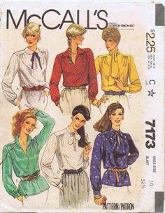 e00a9e76e86 1980s Misses Pullover Blouses McCalls 7173 Vintage Sewing Pattern Tie Collar  Blouse Size 8 OR Size 10 UNCUT