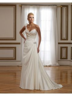 Satin Striking Sweetheart Hand-Draped Bodice A-line Wedding Dress