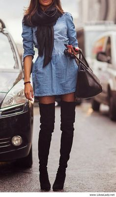 Denim dress and thigh high black suede boots