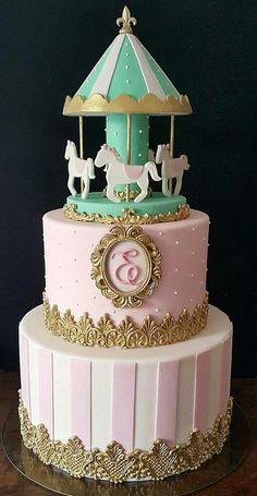 Pastel Carrusel Carousel Birthday Parties, Boys 1st Birthday Party Ideas, Girl Birthday Themes, Baby Girl Birthday, First Birthday Parties, First Birthdays, Carousel Cake, Carousel Party, Pretty Cakes
