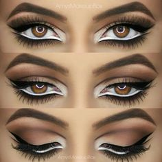 this intense eye look will turn heads - stacking white and black eyeliner
