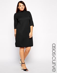 ASOS CURVE Rib Shift Dress With Half Sleeve