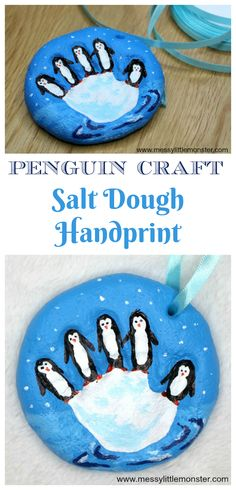 Penguin Craft - Salt Dough Handprint Ornament