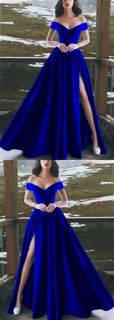 Burgundy Satin V-neck Long Prom Dresses Leg Split Evening Gowns,Elegant V-neck Off The Shoulder Long Satin Royal Blue Prom Dresses