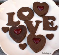 Grain-Free Valentine Love Cookies - eggs, vanilla, ghee, honey, stevia, coconut flour, almond flour, cocoa, baking soda, salt
