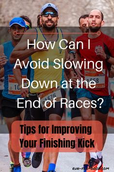 If you find that you are slowing down at the end of races, here are some things you can do before and during the race to have a stronger finish. Running Drills, Running Injuries, Running Workouts, Running Tips, Easy Workouts, Trail Running, Race Training, Training Schedule, Interval Training