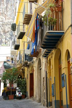 Colorful Houses in Cefalu, Sicily, Italy
