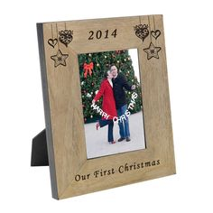 Add a year to celebrate your 1st Christmas together.  4x6 or 5x7 available in portrait or landscape wooden frame.  Free delivery.