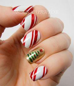 Christmas Nail Art Ideas for a Festive Holiday Mani Christmas Tree Nail Art, Xmas Nail Art, Christmas Manicure, Holiday Nail Art, Xmas Nails, Christmas Nail Art Designs, Winter Nail Art, Winter Nails, Simple Christmas