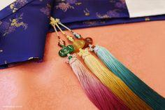 오리미한복 :: 새파란 국화문 양단 저고리에 살구분홍 치마_ 오리미 신부한복