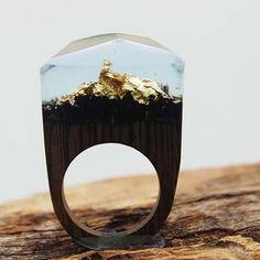 WoodenGem Gilded Masterpiece    #woodengem #woodring #jewelry #uniquegifts #giftideas #womensring #rings #goldflakering #goldring #goldwoodring