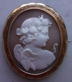 Real Museum Quality Wonderful Victorian Cameo Brooch Of Cupid 1870