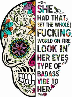& The Kind Of Woman That When Your Feet Hit The Ground In The Morning Sugar Skull & Sticker by hustlagirl Sugar Skull Stencil, Sugar Skull Artwork, Sugar Skull Painting, Sugar Skull Wallpaper, Sugar Skull Drawings, Sugar Skull Crafts, Sugar Skull Decor, Skull Coloring Pages, Motivacional Quotes