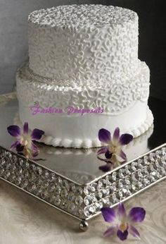 """Crystal Square Wedding Cake Stand 14"""" For $69.00"""