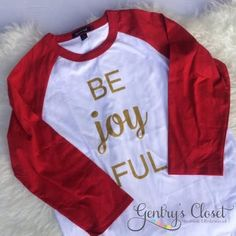 Adult Be Joy FUL Raglan | Gentry's Closet | $25 | Click link to shop: http://gentryscloset.com/collections/christmas/products/be-joy-ful-holiday-shirt-be-joyful-christmas-shirt-for-women-unisex-red-and-gold-baseball-raglan-christmas-shirt-xmas-jersey-for-woman