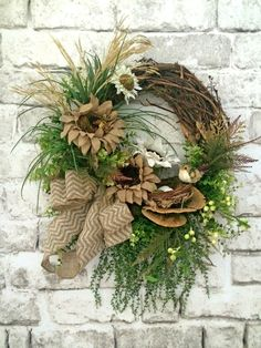 Reserved for Glenda - Cotton and Burlap Sunflower Wreath, Front Door Wreath…
