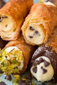 """Some of you may look at this recipe of cannoli filling, and say, """"no that's not how it's done. Cannoli filling is made with an all ricotta filling, no mascarpone, some orange zest and plenty of marsala. Just Desserts, Delicious Desserts, Yummy Food, Cannoli Shells, Cannoli Filling, Cannoli Recipe, Bon Dessert, Italian Pastries, Stuffed Shells Recipe"""