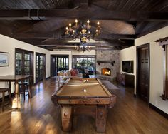 Red Oak hardwood floors in this Man Cave.