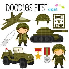 Little Army Cute Military Digital Clip Art for by DoodlesFirst, $2.99
