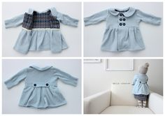 Baby Dress Coat from an old Sweater - tutorial - Bildanleitung